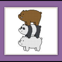We Bare Bears Cross Stitch Pattern Bear Stack