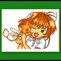 Cardcaptor Sakura Cross Stitch Pattern Sakura and Kero