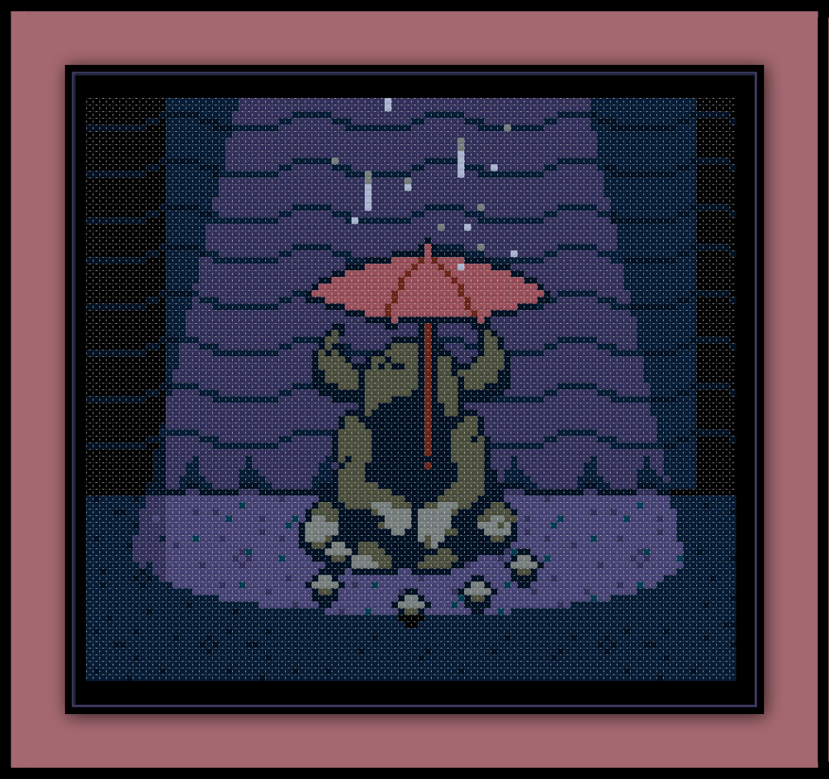 Undertale Cross Stitch Pattern Umbrella Statue