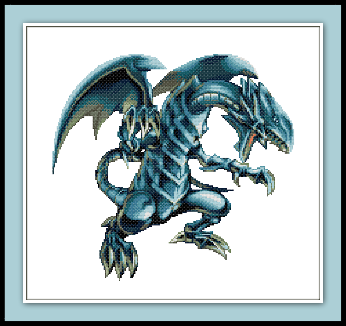 Free Blue Eyes White Dragon Cross Stitch Pattern Yu-Gi-Oh