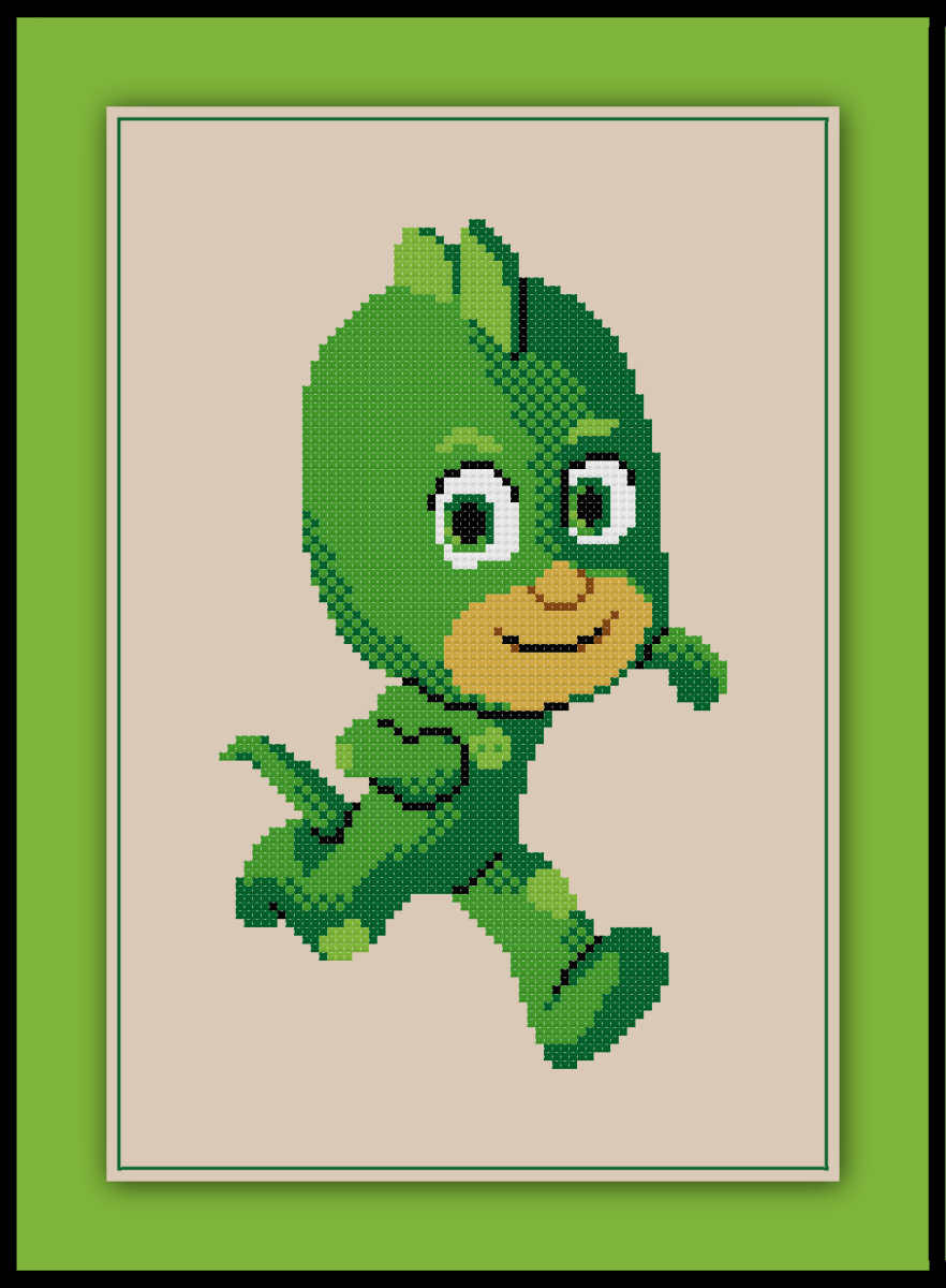 Free PJ Masks Cross Stitch Pattern Gecko