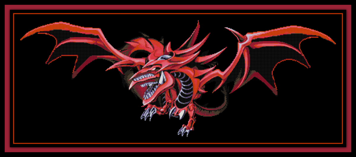 Free Yu-Gi-Oh Cross Stitch Pattern Slifer the Sky Dragon