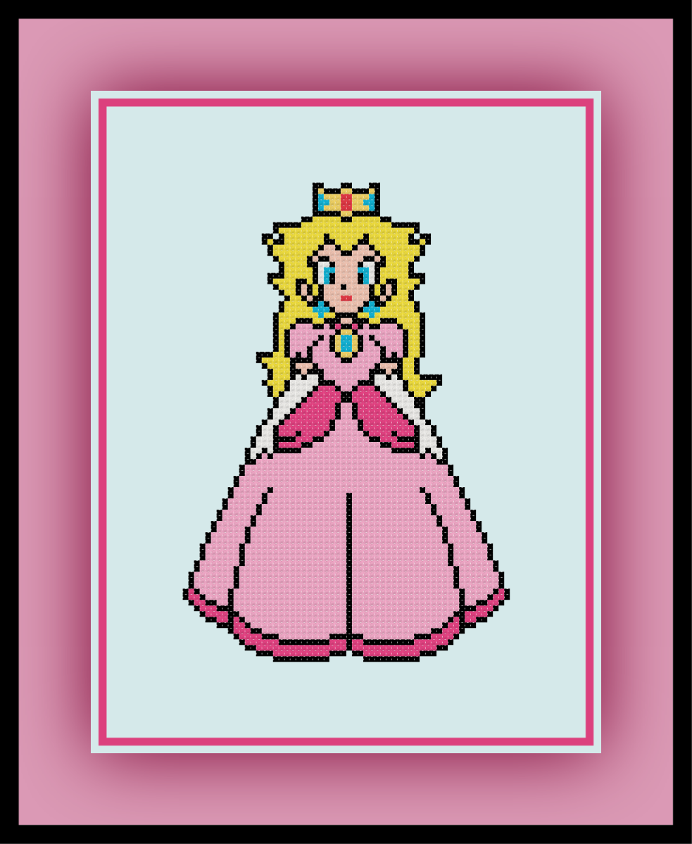 Free Princess Peach Cross Stitch Pattern Mario