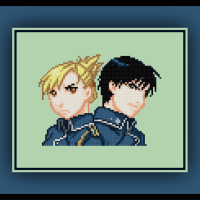 Free Fullmetal Alchemist Cross Stitch Pattern Hawkeye and Roy Mustang