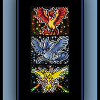 Free Pokemon Cross Stitch Pattern Legendary Birds Trio Zapdos, Articuno, and Moltres