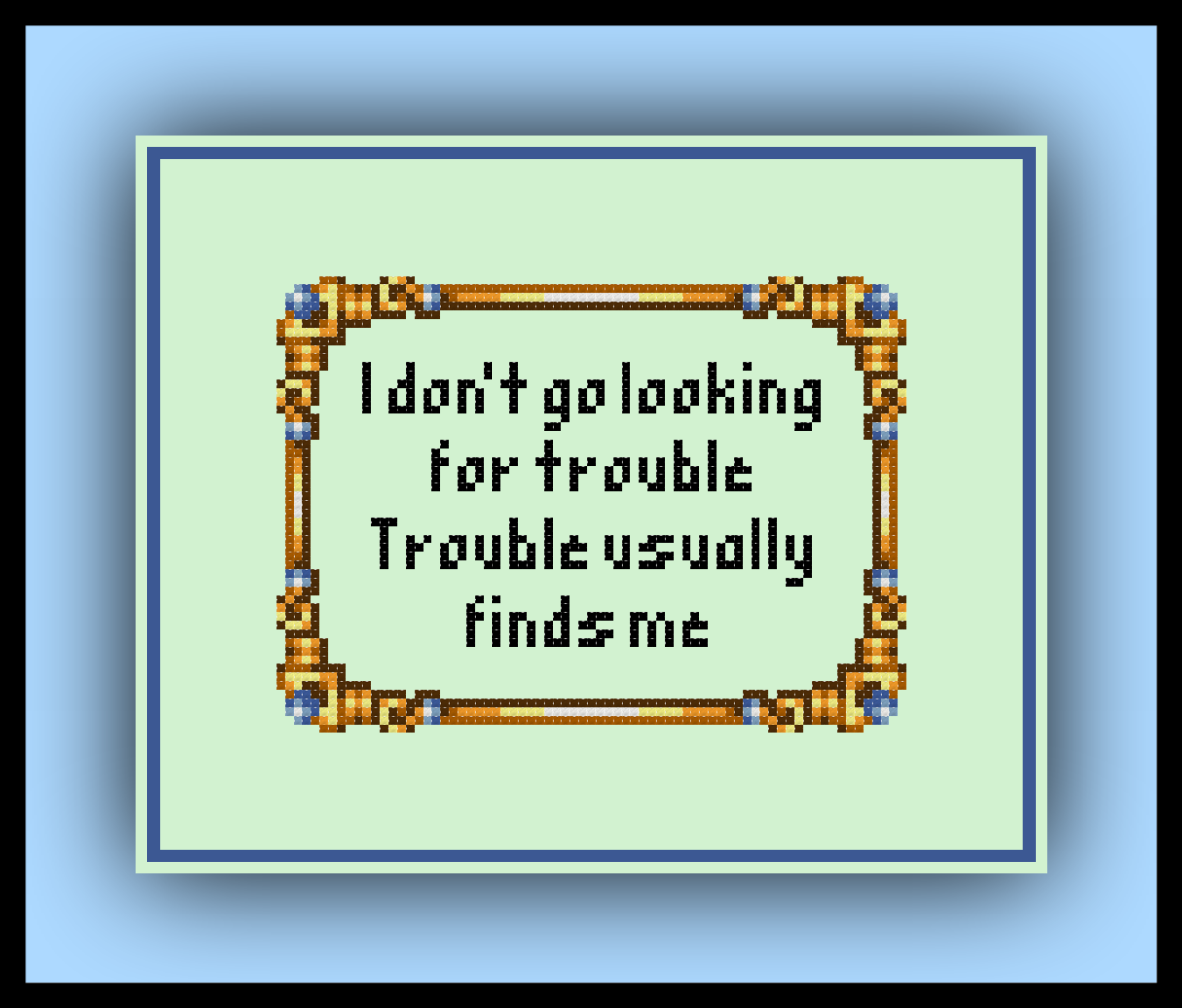 Free Harry Potter Cross Stitch Pattern Trouble Quote and Twilight Imperium Review