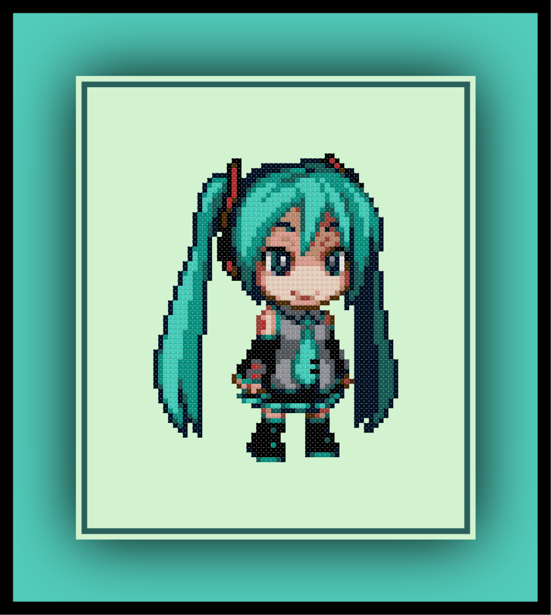 Free Hatsune Miku Cross Stitch Pattern Vocaloid