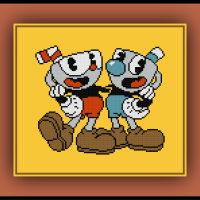 Patreon Only Mugman and Cuphead Cross Stitch Pattern