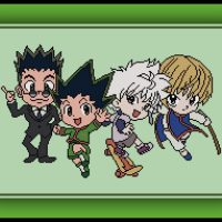 Patreon Only Hunter X Hunter Cross Stitch Pattern Chibi Gon, Killua, Kurapika, and Leorio