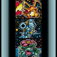 Free Kanto Starters Cross Stitch Pattern Charizard, Blastoise, and Venusaur