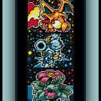 Free Kanto Starters Cross Stitch Pattern Charizard, Blastoise, and Venusaur