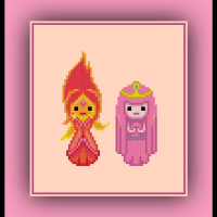 Free Adventure Time Cross Stitch Pattern Princess Bubblegum and Flame Princess
