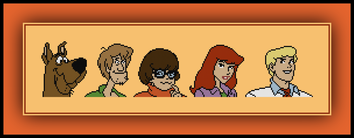 Free Scooby Doo Cross Stitch Pattern Mystery Inc. Gang