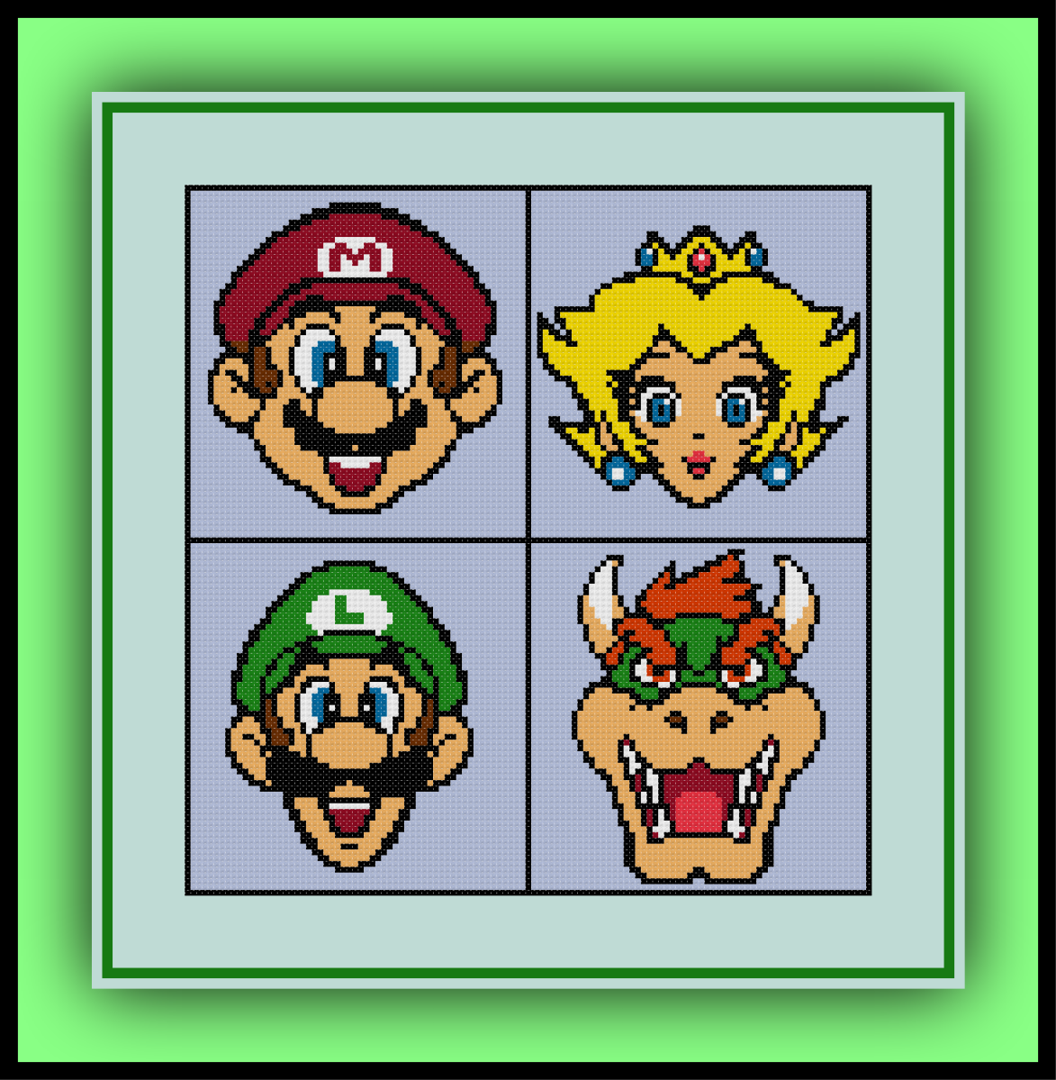 Free Mario Bros. Cross Stitch Pattern Mario, Luigi, Princess Peach, and Bowser