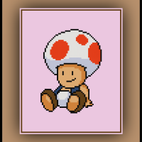 Free Toad Cross Stitch Pattern Mario Bros.