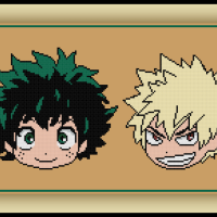 Patreon Only Midoriya and Bakugou Cross Stitch Pattern and My Hero Academia Review