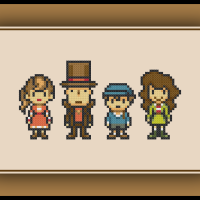 Free Professor Layton Cross Stitch Pattern Hershel, Luke, Flora, and Emmy