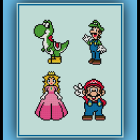 Free Mario Cross Stitch Pattern Princess Peach, Luigi, Mario, and Yoshi
