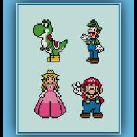 Free Mario Cross Stitch Pattern Princess Peach, Luigi, Mario, and Yoshi