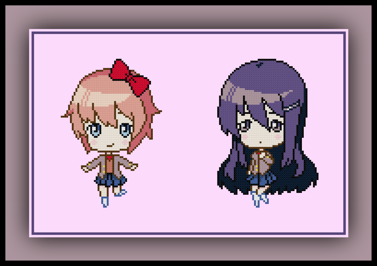 Patreon Only Doki Doki Literature Club Cross Stitch Pattern Sayori and Yuri