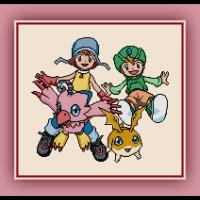 Free Digimon Cross Stitch Pattern Sora, TK, Patamon, and Biyomon