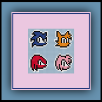 Free Sonic Cross Stitch Pattern Sonic, Tails, Amy, and Knuckles Perler Bead Pattern
