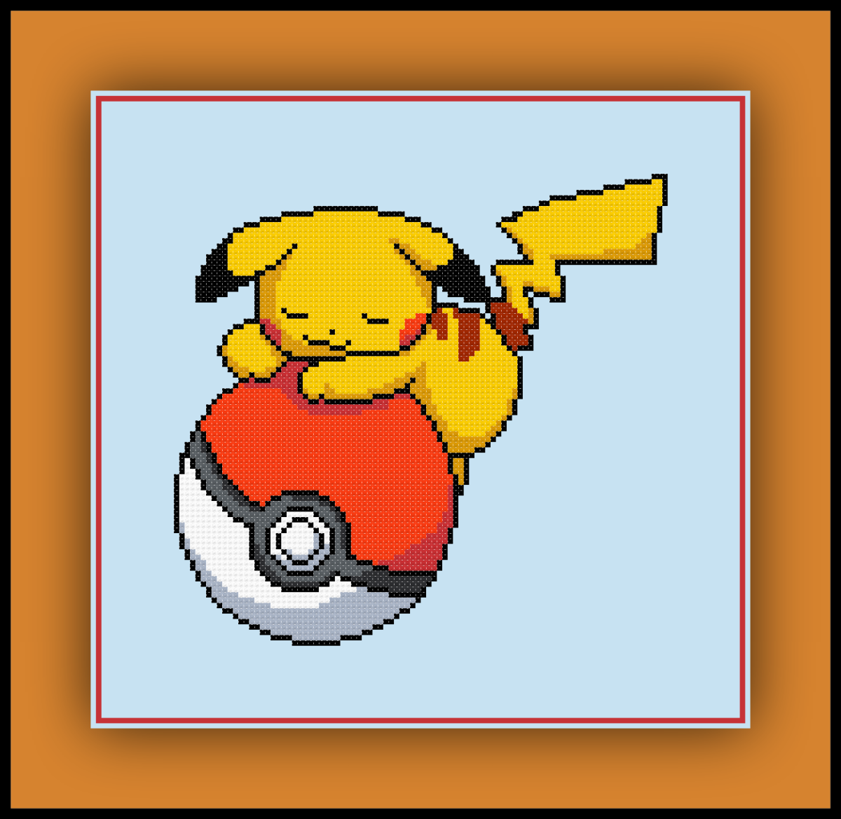 Patreon Only Pokemon Cross Stitch Pattern Pikachu Sleeping on a Pokeball