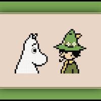 Free Moomin Cross Stitch Pattern Moomintroll and Snufkin
