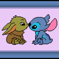Patreon Only Baby Yoda and Stitch Cross Stitch Pattern