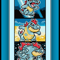 Free Totodile Evolutions Cross Stitch Pattern