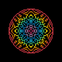 Public Domain Rainbow Mandala Cross Stitch Pattern for Clever Octopus