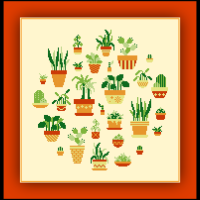 Patreon Only Potted Plants Cross Stitch Pattern Garden