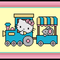 Free Hello Kitty Cross Stitch Pattern Train Ride
