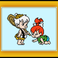 Free Pebbles and Bam Bam Cross Stitch Pattern The Flintstones